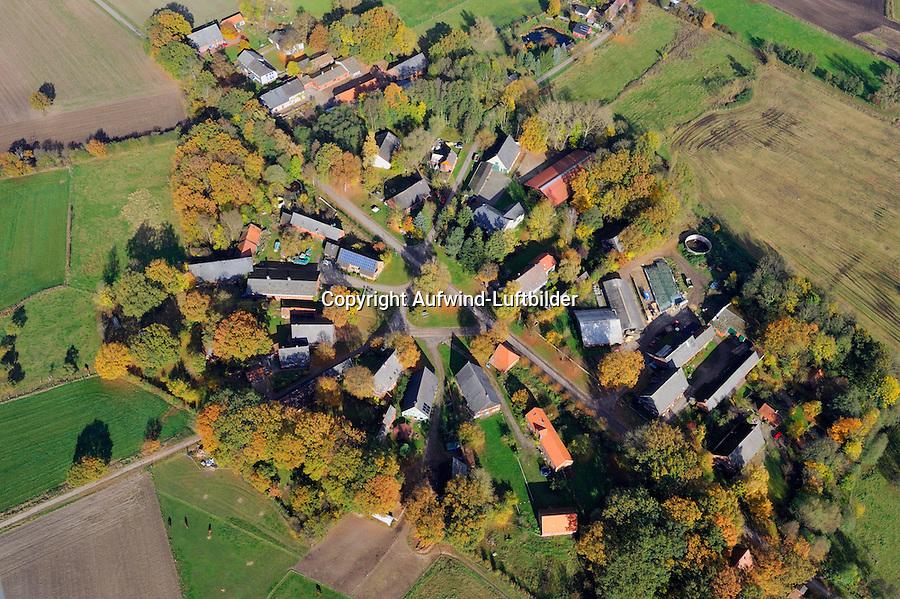 Rundling Jabel: EUROPA, DEUTSCHLAND,  NIEDERSACHSEN (EUROPE, GERMANY), 29.07.2012: Das Dorf Jabel,  ein Rundling  liegt  suedwestlich westlich Luechow im Wendland. .Der Rundling, auch als Runddorf, Rundlingsdorf, Rundplatzdorf bezeichnet, ist eine im Mittelalter entstandene Siedlungsform mit kreis- oder hufeisenfoermigen Anordnung der Gehoefte um einen Platz, der  nur durch eine einzige Stichstraße erreichbar war..Der Verbreitungsraum des Rundlings erstreckt sich streifenfoermig zwischen der Ostsee und dem Erzgebirge in der Kontaktzone zwischen Deutschen und Slawen waehrend des Mittelalters. Gut erhalten haben sich Rundlingsdoerfer im hannoverschen Wendland.