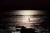 Itaparica Island, Brazil. Man holding a paddle standing on the stern of a dugout canoe in the sunset; Bahia State.