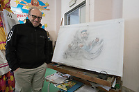 """Europe, Italy, Tuscany, Viareggio, Fabrizio Galli, in his laboratory, shows the 2018 project of  the chariot entitled """"the peace of crystal."""""""
