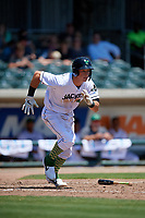 Augusta GreenJackets Jacob Gonzalez (18) runs to first base during a South Atlantic League game against the Lexington Legends on April 30, 2019 at SRP Park in Augusta, Georgia.  Augusta defeated Lexington 5-1.  (Mike Janes/Four Seam Images)