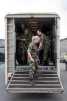 """Who says it is """"ALL WORK AND NO PLAY""""???  the DEFENCE FORCES: Óglaigh Na hÉireann - IRELAND have a bit of fun on their Lorry's ramp....  Irish2012 IRL-Tattersalls International Horse Trial: Tuesday Arrival Day"""