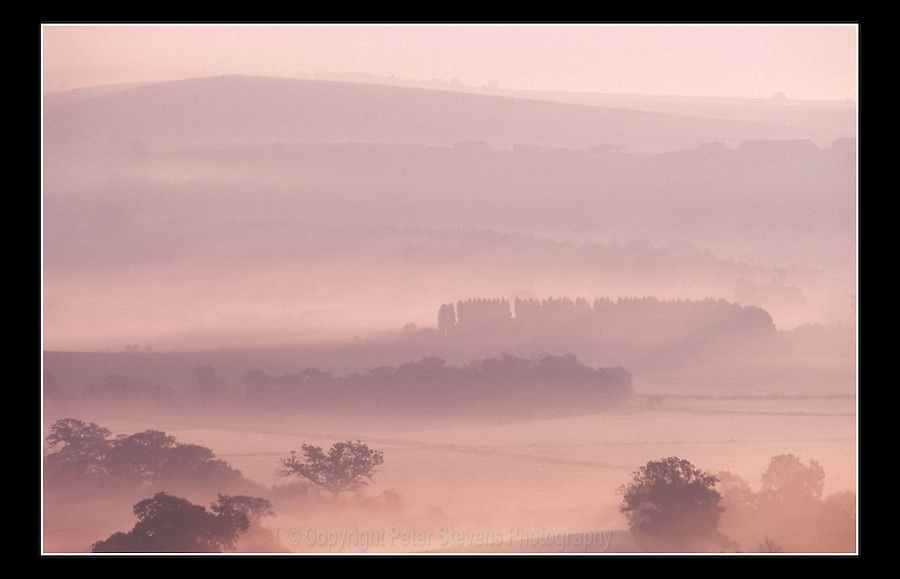 Early morning mist veils the countryside outside of Arundel - West Sussex - 1998