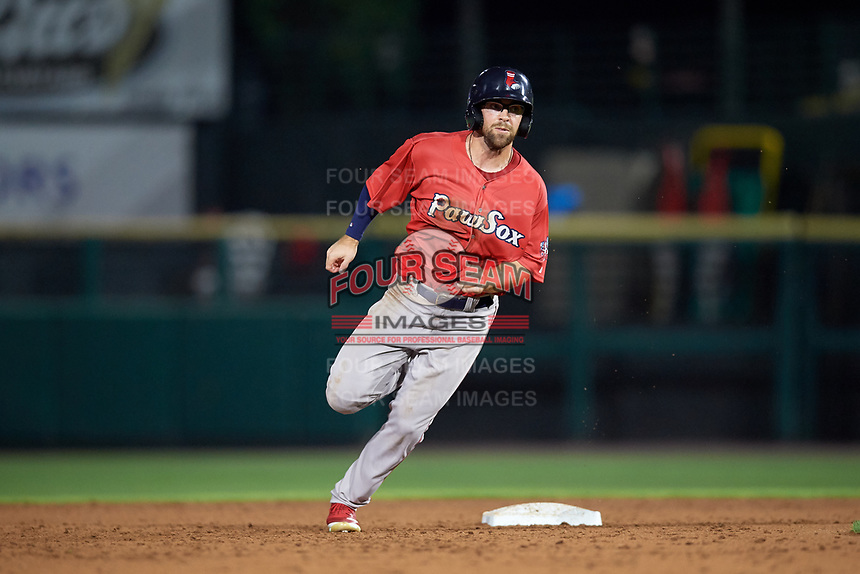 Pawtucket Red Sox right fielder Cole Sturgeon (22) runs the bases during a game against the Rochester Red Wings on July 4, 2018 at Frontier Field in Rochester, New York.  Pawtucket defeated Rochester 6-5.  (Mike Janes/Four Seam Images)