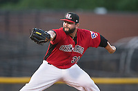 Hickory Crawdads relief pitcher Joe Filomeno (31) in action against the Savannah Sand Gnats at L.P. Frans Stadium on June 15, 2015 in Hickory, North Carolina.  The Crawdads defeated the Sand Gnats 4-1.  (Brian Westerholt/Four Seam Images)