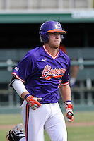 Seth Beer (28) of the Clemson Tigers in a fall intrasquad scrimmage on Sunday, October 16, 2016, at Doug Kingsmore Stadium in Clemson, South Carolina. (Tom Priddy/Four Seam Images)