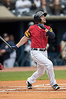 Toledo Mud Hens outfielder Alex Presley (3) follows through on his swing against the Lehigh Valley IronPigs during the International League baseball game on April 30, 2017 at Fifth Third Field in Toledo, Ohio. Toledo defeated Lehigh Valley 6-4. (Andrew Woolley/Four Seam Images)