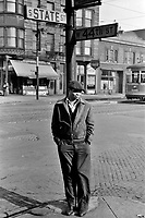 Portrait of a man on the corner of 44th and State Streets, Chicago, Illinois, 1941.<br /> <br /> Photo by Edwin Rosskam.