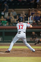 Salt River Rafters third baseman Jake Noll (17), of the Washington Nationals organization, at bat during an Arizona Fall League game against the Scottsdale Scorpions at Scottsdale Stadium on October 12, 2018 in Scottsdale, Arizona. Scottsdale defeated Salt River 6-2. (Zachary Lucy/Four Seam Images)