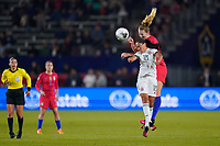 CARSON, CA - FEBRUARY 7: Liliana Mercado #18  of Mexico goes up for a header with Samantha Mewis #3 of the United States during a game between Mexico and USWNT at Dignity Health Sports Park on February 7, 2020 in Carson, California.