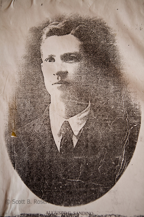 Old portrait of Augusto Cesar Sandino on display at the Museum of the Revolution, Leon, Nicaragua