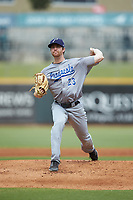 Pensacola Blue Wahoos starting pitcher Charlie Barnes (23) in action against the Birmingham Barons at Regions Field on July 7, 2019 in Birmingham, Alabama. The Barons defeated the Blue Wahoos 6-5 in 10 innings. (Brian Westerholt/Four Seam Images)