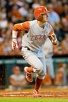 Mark Payton #2 of the Texas Longhorns hustles down the first base line against the Tennessee Volunteers at Minute Maid Park on March 3, 2012 in Houston, Texas.  The Volunteers defeated the Longhorns 5-4.  (Brian Westerholt/Four Seam Images)