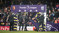 Staff assemble the Premier League boarding during the Premier League match between Watford and West Bromwich Albion at Vicarage Road, Watford, England on 3 March 2018. Photo by Andy Rowland.