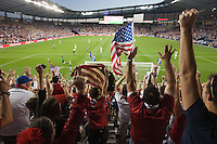 Fans of the United States Men's National Team celebrating the USA scoring their third goal against Guatemala at Livestrong Sporting Park in Kansas City, Kansas in a World Cup Qualifier on Tue. Oct. 16, 2012.