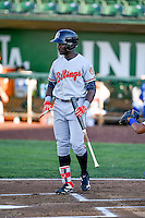 Taylor Trammell (18) of the Billings Mustangs at bat against the Ogden Raptors in Pioneer League action at Lindquist Field on August 12, 2016 in Ogden, Utah. Billings defeated Ogden 7-6. (Stephen Smith/Four Seam Images)