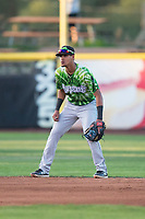 Eugene Emeralds shortstop Luis Vazquez (7) during a Northwest League game against the Salem-Keizer Volcanoes at Volcanoes Stadium on August 31, 2018 in Keizer, Oregon. The Eugene Emeralds defeated the Salem-Keizer Volcanoes by a score of 7-3. (Zachary Lucy/Four Seam Images)