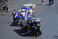 Apr. 14, 2012; Concord, NC, USA: The cars of NHRA funny car driver Ron Capps (top) and Jack Beckman during qualifying for the Four Wide Nationals at zMax Dragway. Mandatory Credit: Mark J. Rebilas-