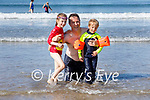 Enjoying the water in Inch beach on Sunday, l to r: Conor, Barry and Emer Spellman from Killarney.