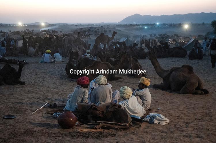 Pushkar Fair ground during dusk. Rajasthan, India.