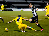 2nd February 2021; St Mirren Park, Paisley, Renfrewshire, Scotland; Scottish Premiership Football, St Mirren versus Hibernian; Jamie Murphy of Hibernian is fouled in the box by Marcus Fraser of St Mirren and Hibs are awarded a penalty.