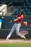 Ryan Aguilar (11) of the Carolina Mudcats connects for a home run against the Winston-Salem Dash at BB&T Ballpark on June 1, 2019 in Winston-Salem, North Carolina. The Mudcats defeated the Dash 6-3 in game one of a double header. (Brian Westerholt/Four Seam Images)