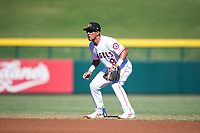 Mesa Solar Sox second baseman Jahmai Jones (9), of the Los Angeles Angels organization, during an Arizona Fall League game against the Peoria Javelinas at Sloan Park on November 6, 2018 in Mesa, Arizona. Mesa defeated Peoria 7-5 . (Zachary Lucy/Four Seam Images)