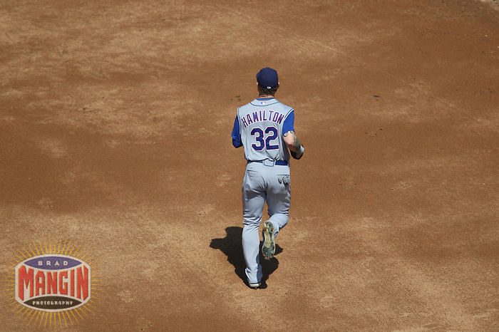 OAKLAND, CA - SEPTEMBER 14:  Josh Hamilton of the Texas Rangers runs out to center field during the game against the Oakland Athletics at the McAfee Coliseum in Oakland, California on September 14, 2008.  The Athletics defeated the Rangers 7-4.  Photo by Brad Mangin