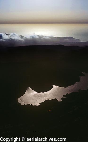aerial photograph Crystal Springs reservoir toward the Pacific Ocean, San Mateo County, California