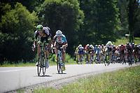 Brice Feillu (FRA/Bretagne-Séché Environnement) & Alexis Gougeard (FRA/Ag2r-La Mondiale) trying to break away from the peloton<br /> <br /> st16: Morain-en-Montagne to Bern (SUI) / 209km<br /> 103rd Tour de France 2016