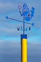 France, Côtes-d'Armor (22), Côte d'Emeraude, Lancieux: Girouette sur la jetée au bout de la plage //  France, Brittany, Cotes-D'Armor,  Emeraude coast , Lancieux:  Weathervane on the pier at the end of the beach