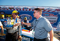 Sep 2, 2019; Clermont, IN, USA; NHRA funny car driver John Force (left) is congratulated by NHRA president Glenn Cromwell after winning the US Nationals at Lucas Oil Raceway. Mandatory Credit: Mark J. Rebilas-USA TODAY Sports