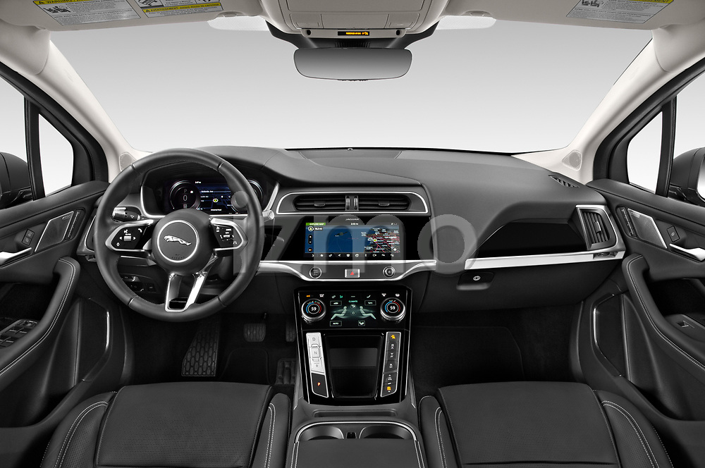 Stock photo of straight dashboard view of 2020 Jaguar I-PACE HSE 5 Door SUV Dashboard