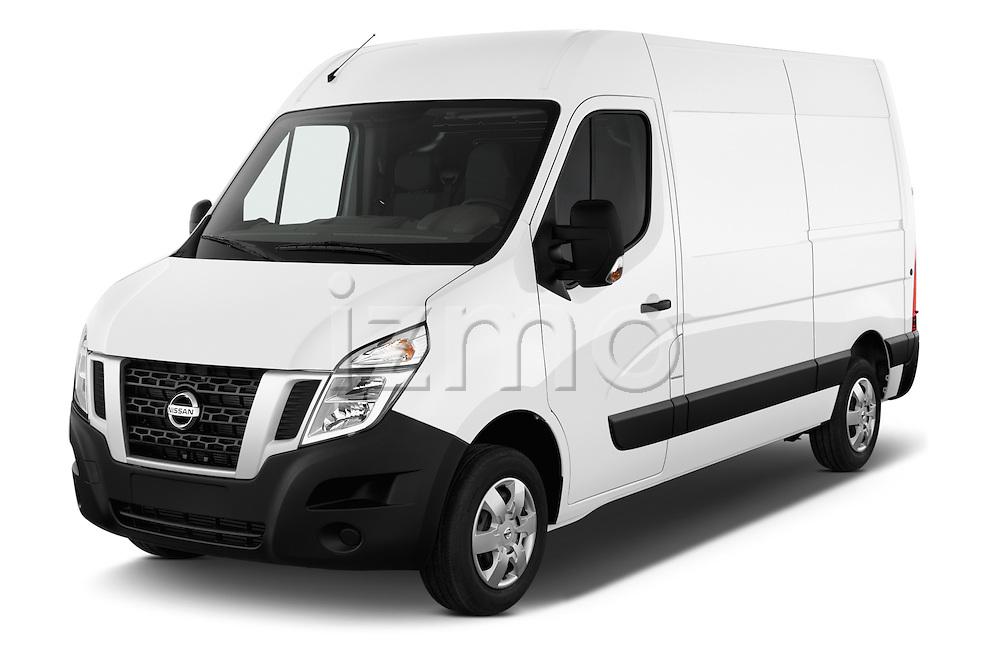 2016 Nissan NV400 Acenta 4 Door Cargo Van Angular Front stock photos of front three quarter view