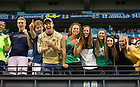 Sept 13, 2014; Students cheer during the first half of the Shamrock Series football game against Purdue at Lucas Oil Stadium in Indianapolis. (Photo by Barbara Johnston/University of Notre Dame)