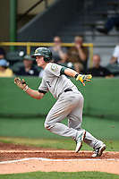 Beloit Snappers third baseman Matt Chapman (7) runs to first during a game against the Clinton LumberKings on August 17, 2014 at Ashford University Field in Clinton, Iowa.  Clinton defeated Beloit 4-3.  (Mike Janes/Four Seam Images)