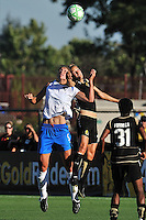 19 July 2009: Kimberly Yokers of the FC Gold Pride and Maggie Tomecka contest for the ball during the game at Buck Shaw Stadium in Santa Clara, California.  The Boston Breakers defeated the FC Gold Pride, 1-0.