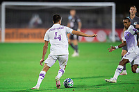 LAKE BUENA VISTA, FL - AUGUST 06: Joao Moutinho #4 of Orlando City SC dribbles the ball during a game between Orlando City SC and Minnesota United FC at ESPN Wide World of Sports on August 06, 2020 in Lake Buena Vista, Florida.
