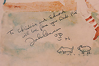 """BNPS.co.uk (01202 558833)<br /> Pic: RRAuction/BNPS<br /> <br /> Pictured: John Lennon's inscription and doddles.<br /> <br /> An album cover John Lennon drew on and gifted to a session musician has emerged for sale 45 years later for £11,000. ($15,000)<br /> <br /> The Beatle did a self-portrait and sketches of a sheep chasing a dog on the front of the signed Walls and Bridges album.<br /> <br /> He presented it to guitarist Ed Mottau, who played the instrument on that album and Rock 'n' Roll, during a 1976 studio session.<br /> <br /> Lennon suggested Mottau pass the cover on to his children, writing the inscription: """"To Christine and Edward, with love from your Dad's pal, John Lennon, '76'."""""""