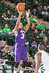 Stephen F. Austin Lumberjacks guard Deshaunt Walker (3) in action during the game between the Stephen F. Austin Lumberjacks and the North Texas Mean Green at the Super Pit arena in Denton, Texas. SFA defeats UNT 87 to 53.