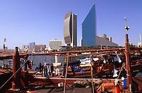 Vereinigte arabische Emirate (VAE, UAE), Dubai, National Bank of Dubai und Chamber of Commerce, Dhau Hafen (Dhow Wharf)