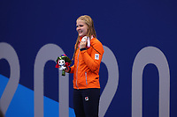 26th August 2021; Tokyo, Japan; Siver medalist BRUINSMA Liesette (NED) celebrates on the podium for the Swimming : Women's 400m Freestyle - S11 Final - Medal Ceremony on August 26, 2021 during the Tokyo 2020 Paralympic Games at the Tokyo Aquatics Centre in Tokyo, Japan.