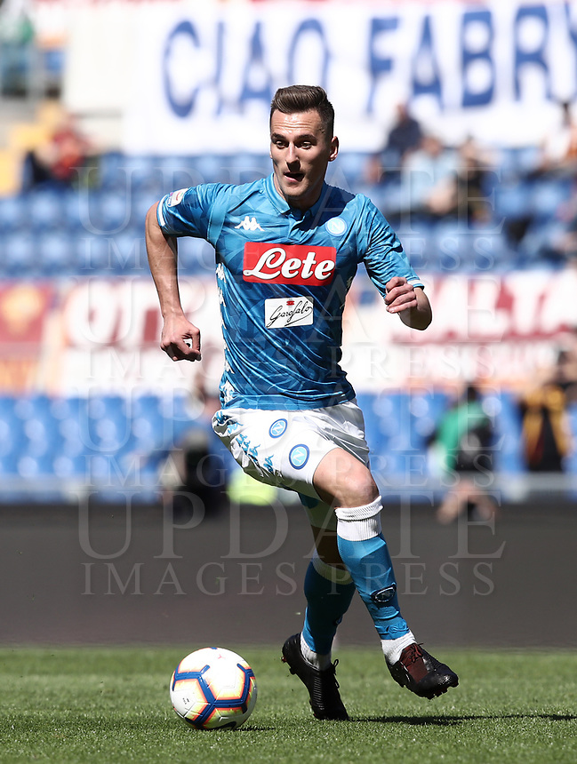 Football, Serie A: AS Roma - SSC Napoli, Olympic stadium, Rome, March 31, 2019. <br /> Napoli's Arkadiusz Milik in action during the Italian Serie A football match between Roma and Napoli at Olympic stadium in Rome, on March 31, 2019.<br /> UPDATE IMAGES PRESS/Isabella Bonotto
