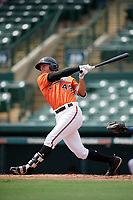 Baltimore Orioles Tristan Graham (43) at bat during an Instructional League game against the Tampa Bay Rays on October 2, 2017 at Ed Smith Stadium in Sarasota, Florida.  (Mike Janes/Four Seam Images)