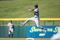 Peoria Javelinas shortstop Lucius Fox (5), of the Tampa Bay Rays organization, prepares to make a leaping throw to first base during an Arizona Fall League game against the Mesa Solar Sox at Sloan Park on November 6, 2018 in Mesa, Arizona. Mesa defeated Peoria 7-5 . (Zachary Lucy/Four Seam Images)