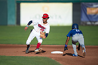 Orem Owlz shortstop Jeremiah Jackson (39) waits to receive a throw from the catcher on a stolen base attempt as Jeremy Arocho (8) slides into second base during a Pioneer League game against the Ogden Raptors at Home of the OWLZ on August 24, 2018 in Orem, Utah. The Ogden Raptors defeated the Orem Owlz by a score of 13-5. (Zachary Lucy/Four Seam Images)