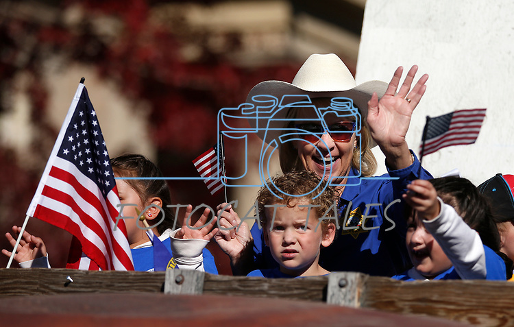 Nevada Secretary of State Barbara Cegavske rides in the Nevada Day parade in Carson City, Nev., on Saturday, Oct. 26, 2019.  <br /> Photo by Cathleen Allison/Nevada Momentum