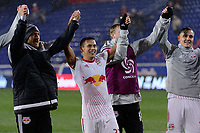 Harrison, NJ - Thursday March 01, 2018: Sean Davis, Ryan Meara, Aaron Long. The New York Red Bulls defeated C.D. Olimpia 2-0 (3-1 on aggregate) during a 2018 CONCACAF Champions League Round of 16 match at Red Bull Arena.