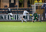 Dundee v St Johnstone…12.02.16   SPFL   Dens Park, Dundee<br />Kane Hemmings firws the ball past Alan Mannus for his second goal<br />Picture by Graeme Hart.<br />Copyright Perthshire Picture Agency<br />Tel: 01738 623350  Mobile: 07990 594431