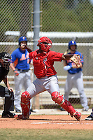 St. Louis Cardinals Gerwuins Velazco (25) during a minor league spring training game against the New York Mets on April 1, 2015 at the Roger Dean Complex in Jupiter, Florida.  (Mike Janes/Four Seam Images)