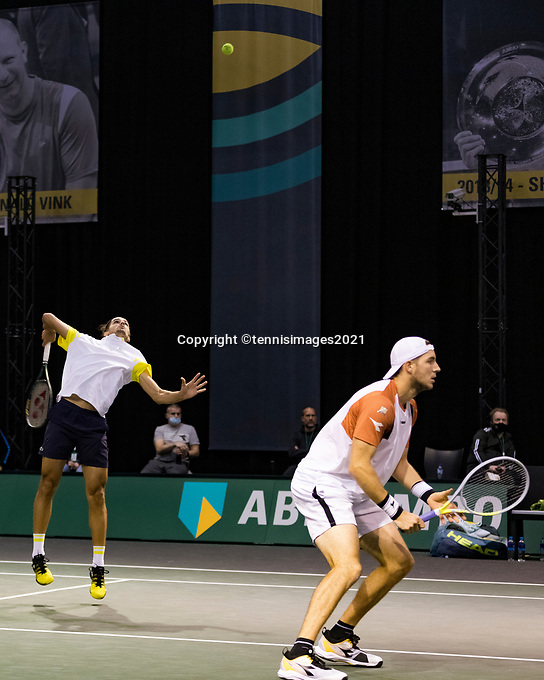Rotterdam, The Netherlands, 2 march  2021, ABNAMRO World Tennis Tournament, Ahoy, First round doubles: Pierre-Hugues Herbert (FRA) / Jan-Lennard Struff (GER)<br /> Photo: www.tennisimages.com/henkkoster
